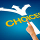 Hand pointing at a choices illustration on blue background.